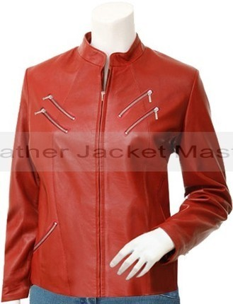 Women's 6 Front Pockets Red Leather Jacket - Hwoarang | leather Craze | Scoop.it
