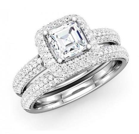 Asscher Cut Diamond Frame Bridal Set | Wedding Ring | Scoop.it