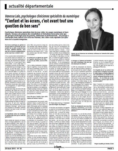 """""""L'enfant et les écrans, c'est avant tout un question de bon sens"""" : la Gazette Ariégeoise - Vanessa Lalo à l'Université d'été Ludovia   Jeux coopératifs   Scoop.it"""