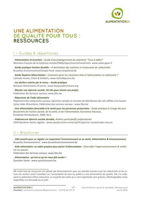 Une alimentation de qualité pour tous : Ressources - Alimentation21 | ALIMENTATION21 - Réalisations & publications | Scoop.it