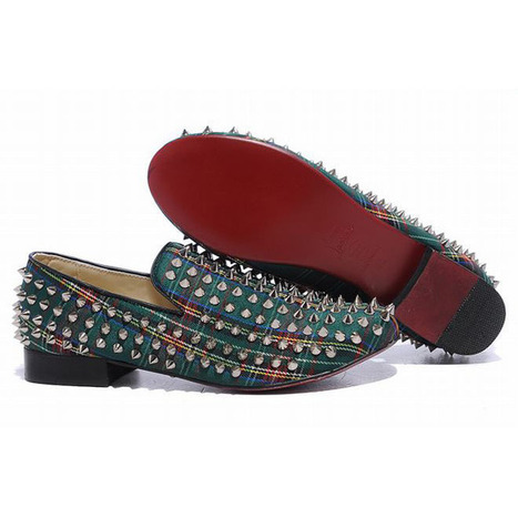 Christian Louboutin Rollerboy Spikes Womens Flat Shoes Tartan Gree | new and fashion list | Scoop.it