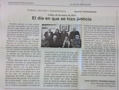 EL DÍA EN QUE SE HIZO JUSTICIA. Juan P. Muras escribe en la Voz de Ortigueira sobre la vergonzosa actuación de un gobierno municipal que pleitea contra sus propios vecinos | Xornal do Grupo Municipal Socialista de Ortigueira | Scoop.it