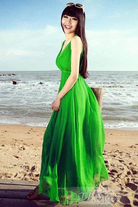 Gorgeous Solid Color V-Neck Bohemian Maxi Dress   women fashion&clothing   Scoop.it