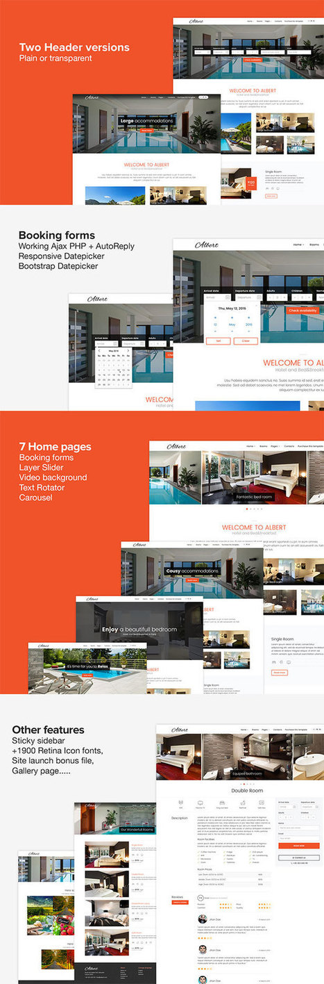 Albert - Hotel and Bed and Breakfast Bootstrap Template Download | Creative Themes and Template Download | Scoop.it