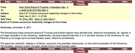 Penn State Issues Email and Text Message to Students Tonight | Scandal at Penn State | Scoop.it