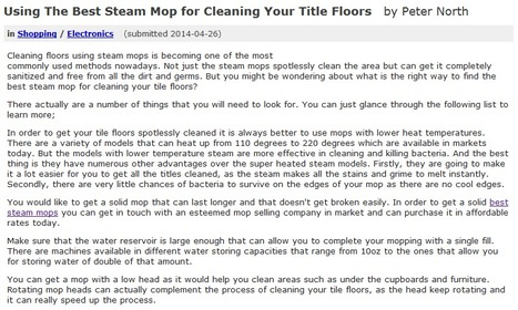 Using The Best Steam Mop for Cleaning Your Title Floors   Steam Mops   Scoop.it