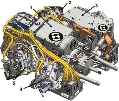 Drawing of verktøy-/instrumentplattformen the end of the robotic arm on Curiosity   VIM   Scoop.it