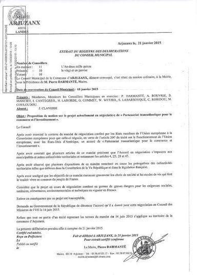 Les communes de Capbreton, Sabres, Mouscardes et Arjuzanx (40) se déclarent Hors tafta | ParisBilt | Scoop.it