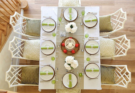 Refreshing and Casual Dining Table Setup in Green and White Color Scheme | Simple Decorating Ideas For Home | Scoop.it