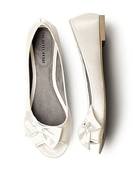 Satin Peep Toe Bridal Ballet Flats | fashion | Scoop.it