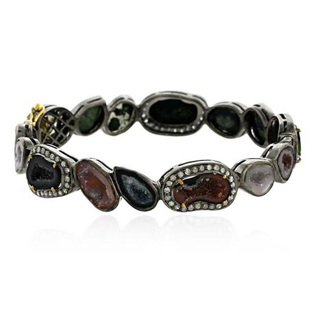 Bezel Set Geode Diamond Bangle | Gemstone Jewelry | GemcoDesigns | Pave Diamond Bangle | Diamond Jewelry | GemcoDesigns | Scoop.it