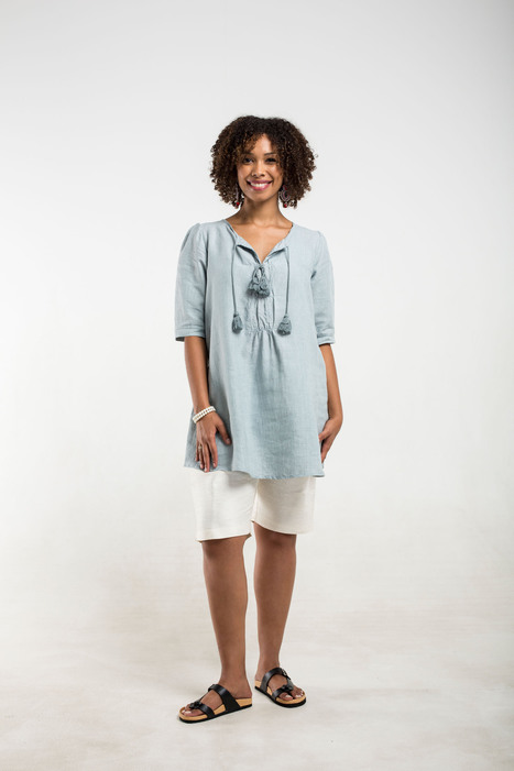 blue linen top with tassels | 2014 Collection | Scoop.it