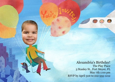 Come on up! The weather is fine in this whimsical balloon flight invite! | kids birthday invites | Scoop.it