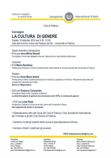 La cultura di Genere - Convegno del Soroptimist d'Italia - Club di Padova | Pietro Casetta | Scoop.it