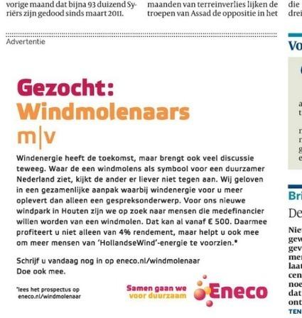 Crowdfunding gezocht per advertentie voor windpark Eneco   Reclamewereld   Crowdfunding NL   Scoop.it