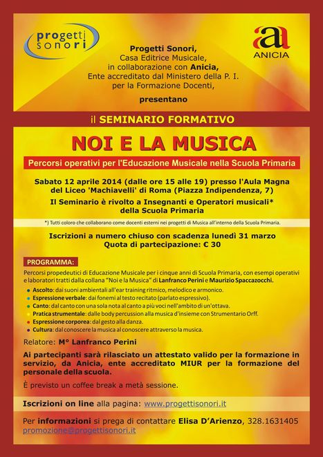 """Seminario Formativo """"Noi e la musica"""" percorsi operativi per l'educazione musicale nella Scuola Primaria: Sabato 12 Aprile 2014   Formazione Anicia   Scoop.it"""