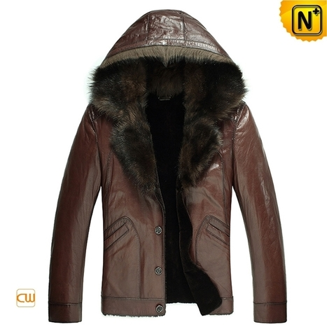 CWMALLS® Hooded Fur Leather Jacket CW878576 | Fur Lined Mens Coat | Scoop.it