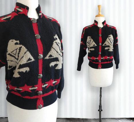 Vintage Ethnic Eagle Pattern Cardigan. Vintage Cotton Cardigan. Size Medium/Large | DustyDesert vintage | Scoop.it