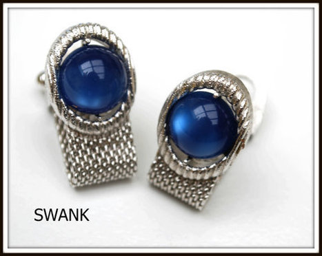 Vintage Swank Silver tone mesh and Blue Glass Cufflinks | serendipity treasures | Scoop.it