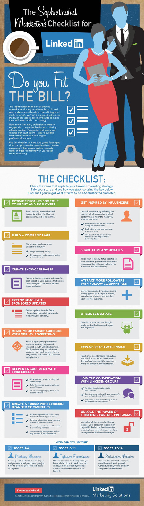 The Sophisticated Marketer's Checklist for LinkedIn - infographic | Profil Linkedin | Scoop.it