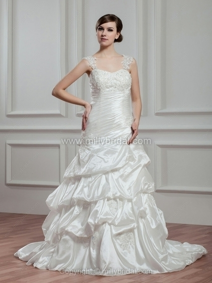A-line Straps Elastic Woven Satin Court Train Appliques Wedding Dresses - www.millybridal.com | wedding and event | Scoop.it