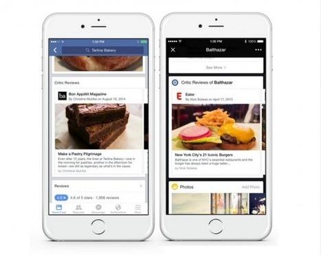 Facebook ajoute les critiques de restaurants sur les pages et la recherche | Médias sociaux et tourisme | Scoop.it
