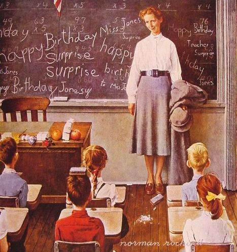 Oil painting reproduction: Norman Rockwell Happy Birthday Miss Jones - Artisoo.com | arts&oil | Scoop.it