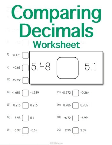 Comparing Decimals Worksheet | Math Worksheets and Flash Cards | Scoop.it