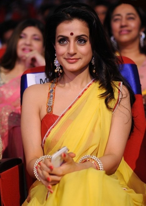 Beautiful Bollywood Girl Amisha Patel in Red Blouse and Yellow Saree at Cannes Film Festival, Actress, Bollywood, Indian Fashion   CHICS & FASHION   Scoop.it