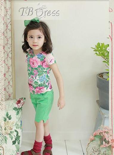 Smart Korean Style Short Sleeve Cotton Fancy  Flowers Girl T-Shirt | kid dress | Scoop.it