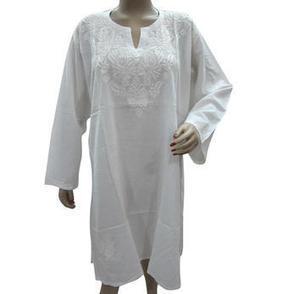 Mogulinterior Long Tunic Kurta White Chikan Embroidered Cotton Kurti Large - Clothing, Shoes & Jewelry - Clothing - Women's Clothing - Women's Regular Clothing - Women's Regular Tops | Bohemian Harem Pant | Scoop.it