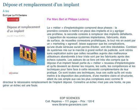 Dépose et remplacement d'un implant | LIBRAIRIE GARANCIERE | Scoop.it
