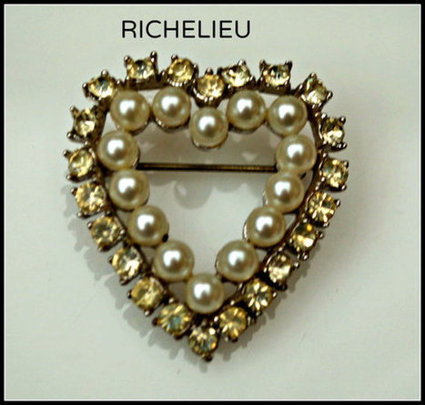 Vintage Richelieu Rhinestone and Pearl Heart Brooch | teamlove jewelry | Scoop.it