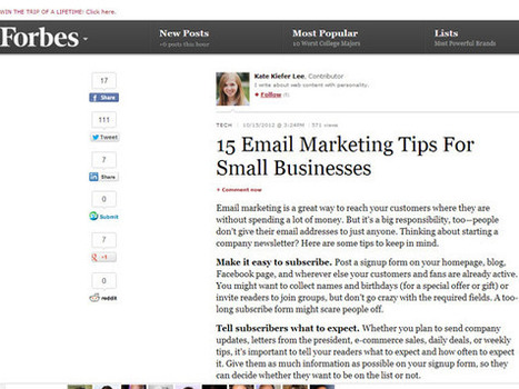 Forbes – 15 Email Marketing Tips For Small Businesses   Email Marketing   Marketing   Scoop.it