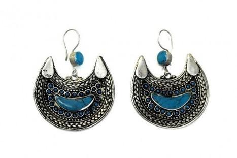 Buy Turkmen Tribal Style Earrings In German Silver Egyptian Belly Dance Dangles | Buy Belly Dance Jewelry Tribal Fusion Bellywood | Scoop.it