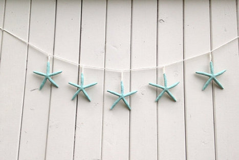 Starfish light blue Wall hanging garland beach party wedding porch mantel decoration by ilPiccoloGiardino | Beachy Keen | Scoop.it