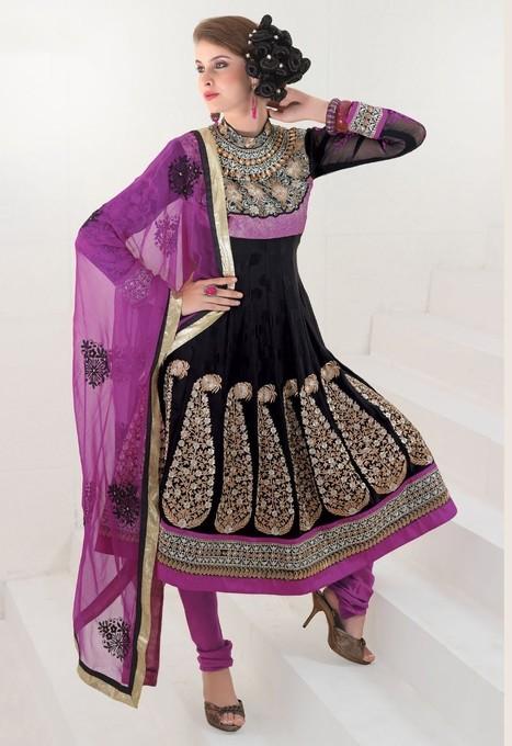 Gravity Fashion - Sparkling Black & Magenta Salwar Kameez   Bollywood Anarkali Dresses   Scoop.it