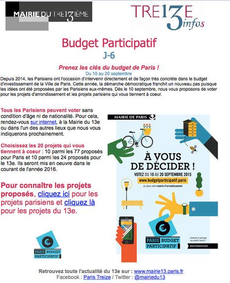 Budget PARTICIPATIF J- Prenez les clés du budget de Paris  Du 10 au 20 septembre 201 | actions de concertation citoyenne | Scoop.it