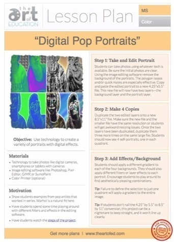 Digital Pop Photos: Free Lesson Plan Download | Technology in Art And Education | Scoop.it