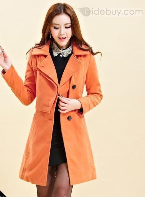 Stylish Slim Orange Cotton Cashmere Trench Coats   the fashion clothes shoes dress bags   Scoop.it