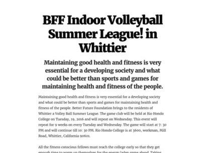 BFF Indoor Volleyball Summer League! in Whittier | Fiesta Taxi | Scoop.it