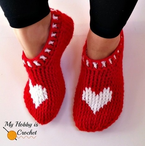 My Hobby Is Crochet: Heart & Sole Slippers| Women size | Free Crochet Pattern | Written Instructions and Graph| My Hobby is Crochet | Free crochet patterns and tutorials | Scoop.it