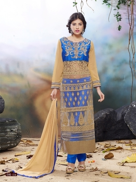Designer semi stitched Cream & Blue Chudidar salwar suit | Women's Fashion & Jewellery Shopping | Scoop.it