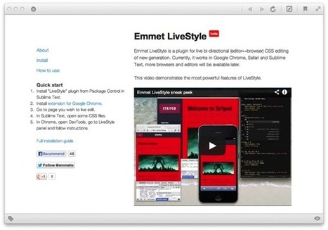 Emmet LiveStyle — Syncing up Chrome Developer Tools and ... | Chrome DevTools | Scoop.it