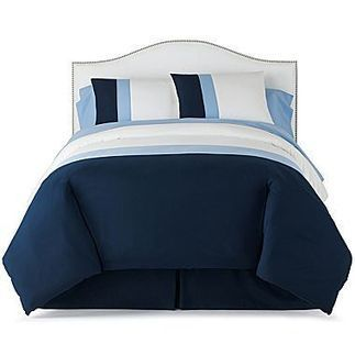 jcp home™ Streamline Complete Bedding Ensemble with Sheet Set | Blue and White Bedding | Scoop.it