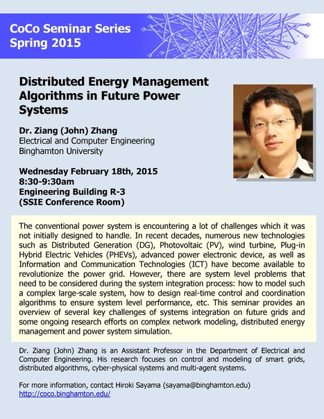 Next CoCo seminar on Feb. 18th by John Zhang on future power systems | Center for Collective Dynamics of Complex Systems (CoCo) | Scoop.it