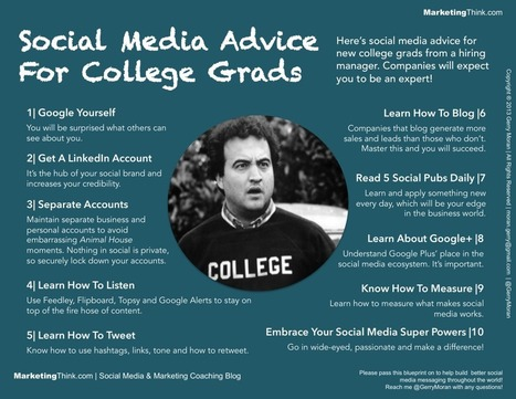 Social Media Advice For College Grads From A Hiring Manager - MarketingThink by Gerry Moran | Social Media & Marketing Coaching Blog | Lesson Plan | Scoop.it
