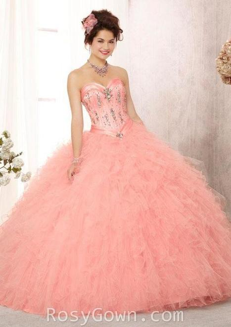 Crystal Beaded Pink Satin Strapless Ruffled Quinceanera Dress | Cheap Prom Dresses | Scoop.it