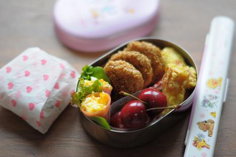 Sesame Chicken Patty and Menchi Katsu Bento   Bento en france   Scoop.it
