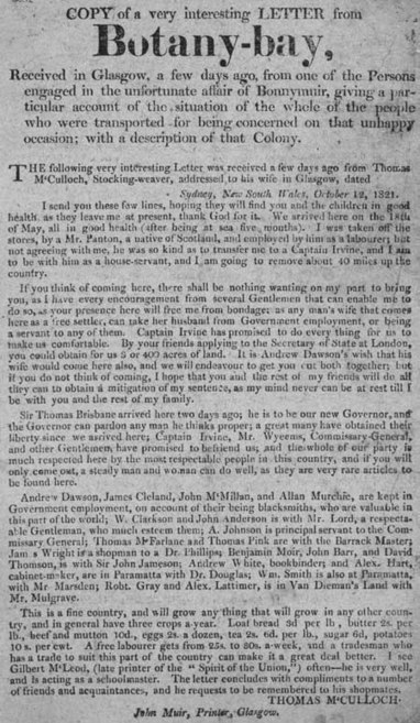 Broadside entitled 'Copy of a Very Interesting Letter from Botany Bay' | British Genealogy | Scoop.it